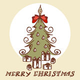 Christmas tree doodles Stock Images