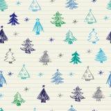 Christmas tree doodles pattern Stock Image