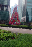Christmas tree in downtown Singapore Stock Images