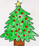 Christmas tree draw. And paint Royalty Free Stock Image