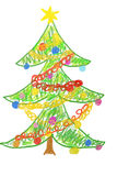 Christmas tree drawing. Child drawing of Christmas tree Royalty Free Stock Photography