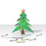 Christmas tree drawing Royalty Free Stock Photos