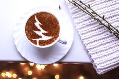 Christmas tree ,drawing coffee cup. Christmas tree ,drawing on latte art coffee cup royalty free stock images