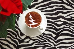 Christmas tree ,drawing coffee cup. Christmas tree ,drawing on latte art coffee cup stock image