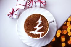 Christmas tree ,drawing coffee cup. Christmas tree ,drawing on latte art coffee cup stock photos