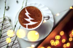 Christmas tree ,drawing coffee cup. Christmas tree ,drawing on latte art coffee cup royalty free stock image