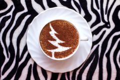 Christmas tree ,drawing coffee cup. Christmas tree ,drawing on latte art coffee cup stock photo