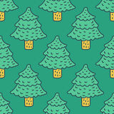Christmas tree drawing pattern. Fir cartoon style. spruce backgr. Ound Royalty Free Stock Image