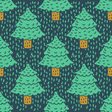Christmas tree drawing pattern. Fir cartoon style. spruce backgr. Ound Royalty Free Stock Photos