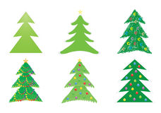 Christmas tree drawings. Set of Christmas tree drawings vector illustration Royalty Free Stock Photo