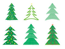 Christmas tree drawings. Set of Christmas tree drawings vector illustration Royalty Free Stock Images