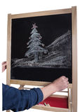 Christmas tree drawn on blackboard chalk without inscription Stock Photos