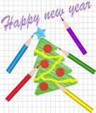 Christmas tree drawn with colored pencils Stock Photos