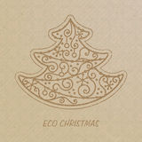 Christmas tree drawn on a craft paper. Eco Christmas concept Stock Image