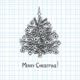Christmas tree drawn in pen notebook stock illustration