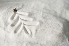 Christmas tree drawn in snow Stock Photography
