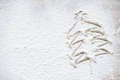 Christmas tree drawn in white flour Royalty Free Stock Image