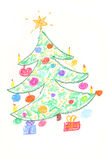Christmas tree drawning. Beautiful decorated Christmas tree with gifts - drawing by children Stock Images