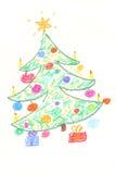 Christmas tree drawning Stock Images