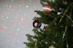 The Christmas tree is dressed up for the holiday Christmas.  stock photos
