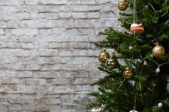 The Christmas tree is dressed up for the holiday Christmas.  stock photo