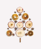 Christmas tree Dry fruits and spice on white Stock Photography