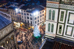 Christmas tree on Duomo square in Florence Royalty Free Stock Images