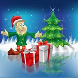Christmas tree and dwarf with gifts Royalty Free Stock Photo