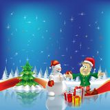 Christmas tree with dwarf and snowman on blue Stock Photo