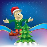 Christmas tree with dwarf on stars Royalty Free Stock Photography