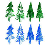 Christmas tree. Eight different firs. Royalty Free Stock Photo