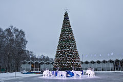 Christmas tree and electric deers, Moscow Royalty Free Stock Photos
