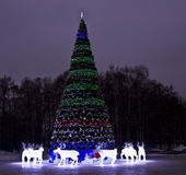 Christmas tree and electric deers, Moscow Stock Image