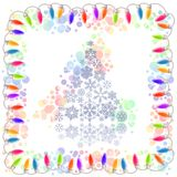 Christmas tree and electric garland Stock Images