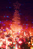 Christmas tree and electric garland. Stock Photography
