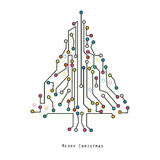 Christmas tree electronic circuit board vector background Royalty Free Stock Image