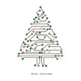 Christmas tree electronic circuit board vector background Royalty Free Stock Photos