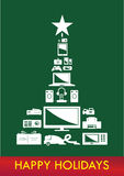Christmas Tree Electronics Vector. Reversed on dar Royalty Free Stock Images