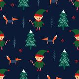 Christmas tree, elf with candy cane and fox seamless pattern on dark blue background. Cute winter holidays background. Baby design for textile, fabric, decor stock illustration