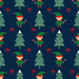 Christmas tree and elf with candy cane seamless pattern. Stock Photo
