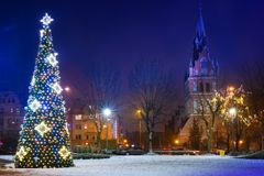 Christmas tree in Elk City Center. Masuria, Poland Royalty Free Stock Image