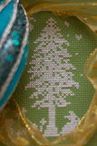 Christmas tree. Embroidered with ribbon, ornament Royalty Free Stock Photo