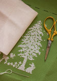 Christmas tree. Embroidered with scissors, needle Royalty Free Stock Photography