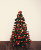 Christmas tree in empty living room Stock Images