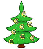Christmas tree with euro signs Stock Photo