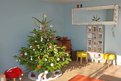 Christmas Tree in the European style. Christmas Tree in the house with decoration stock images