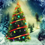 Christmas tree in the evening Stock Photos