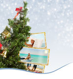 Christmas Tree with exotic vacation postcard Royalty Free Stock Images