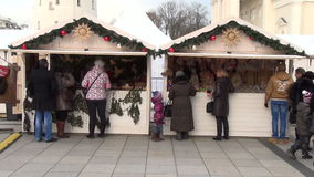Christmas tree fair stall stock footage