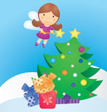 Christmas tree and fairy cartoon Royalty Free Stock Photos